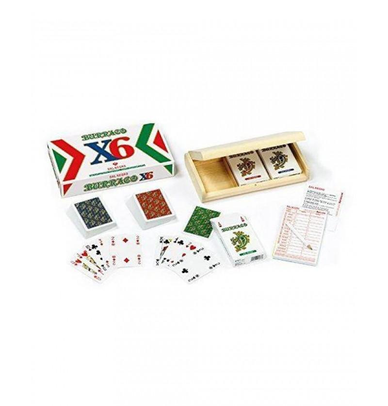 BOX IN LEGNO CARTE BURRACO X 6