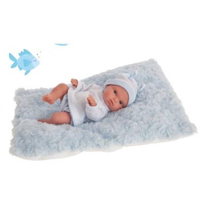 Bambola con cuscino azzurro...